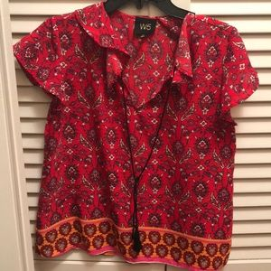 W5 Floral print Red Blouse